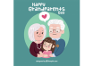 دانلود وکتور Background of grandparents with their cute granddaughter
