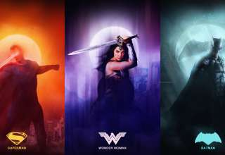 Justice League Superman, Wonder Woman, Batman Artwork Wallpaper