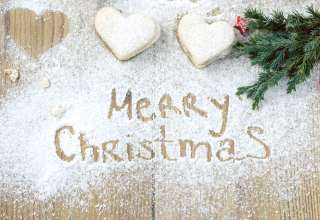 Marry Christmas Holiday Cookies Powdered Sugar Branch Wallpaper
