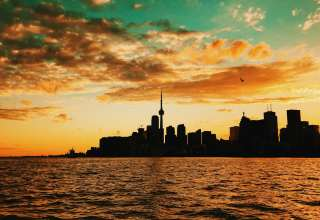 Toronto Canada Sunset Buildings Sea Wallpaper