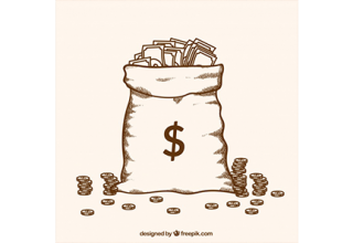 دانلود وکتور Hand drawn bag full of money
