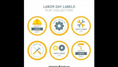 دانلود وکتور Set of six round labor day stickers