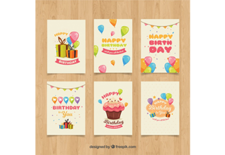 دانلود وکتور Birthday cards in retro style