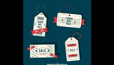 دانلود وکتور Retro labels of labor day sales
