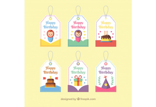 دانلود وکتور Pack of happy birthday labels