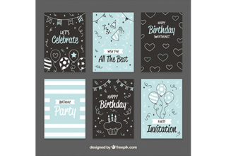 دانلود وکتور Pretty vintage birthday cards with sketches