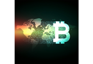 دانلود وکتور Elegant bitcoin design on world map