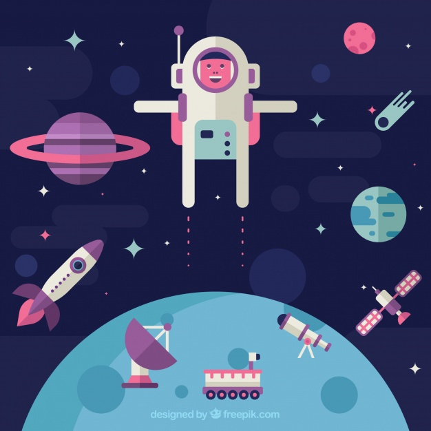 دانلود وکتور Astronaut background in space in flat design