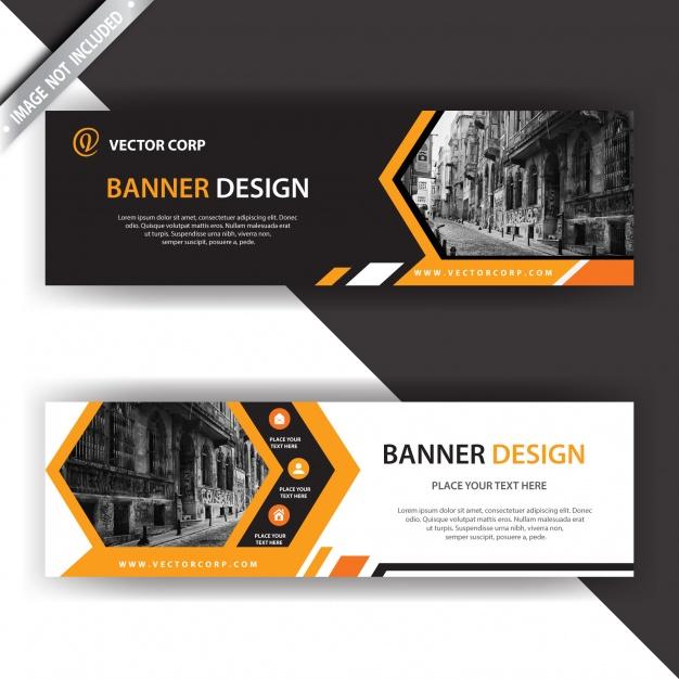 دانلود وکتور Black and orange banner