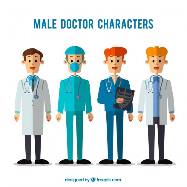 دانلود وکتور Flat collection of specialized doctors