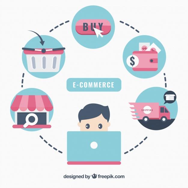 دانلود وکتور Flat e-commerce icons interrelated