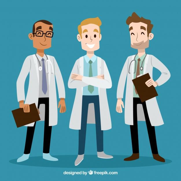 دانلود وکتور Hand drwan smiley doctors
