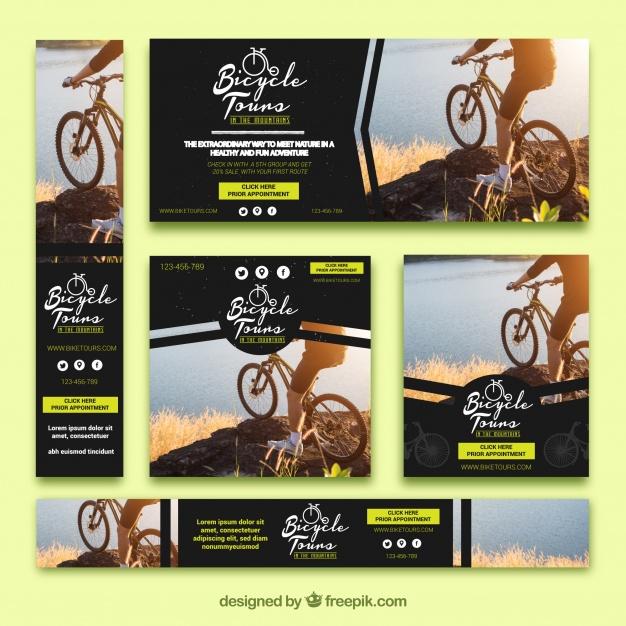 دانلود وکتور Set of bicycle banners