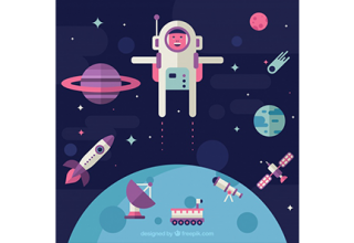 دانلود وکتور Astronaut background in space in flat design