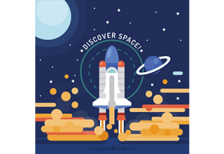 دانلود وکتور Background of rocket taking off in flat design