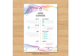 دانلود وکتور Abstract curriculum template with colorful waves