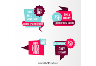 دانلود وکتور Set of sale origami banners