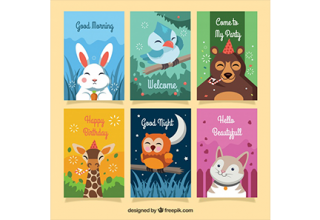 دانلود وکتور Colorful card collection with happy animals