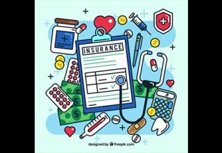دانلود وکتور Fun composition of cool health insurance elements