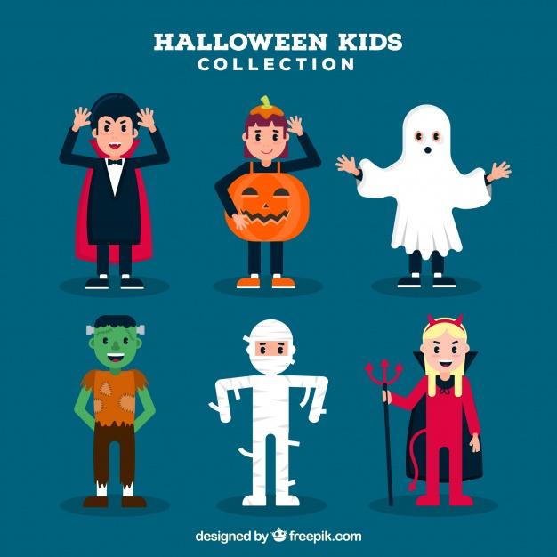 دانلود وکتور Children set with funny halloween costumes