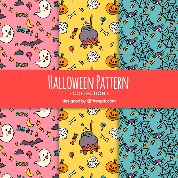 دانلود وکتور Halloween patterns with drawings