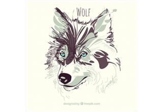 دانلود وکتور Watercolor wolf background