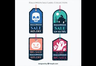 دانلود وکتور Pack of four halloween sale tags