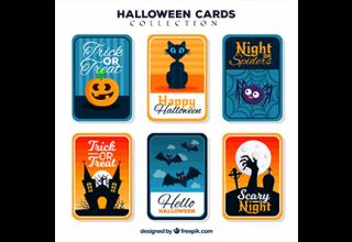 دانلود وکتور Halloween cards wtih funny style