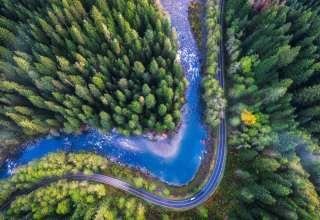 Mountain Loop Highway Drone 4k Wallpaper