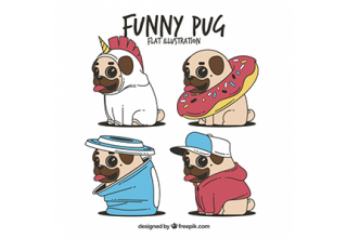 دانلود وکتور Fun set of pugs with costumes