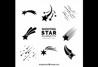 دانلود وکتور Shooting star silhoutte collection