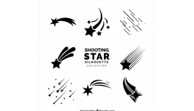 دانلود وکتور Shooting star silhoutte collection