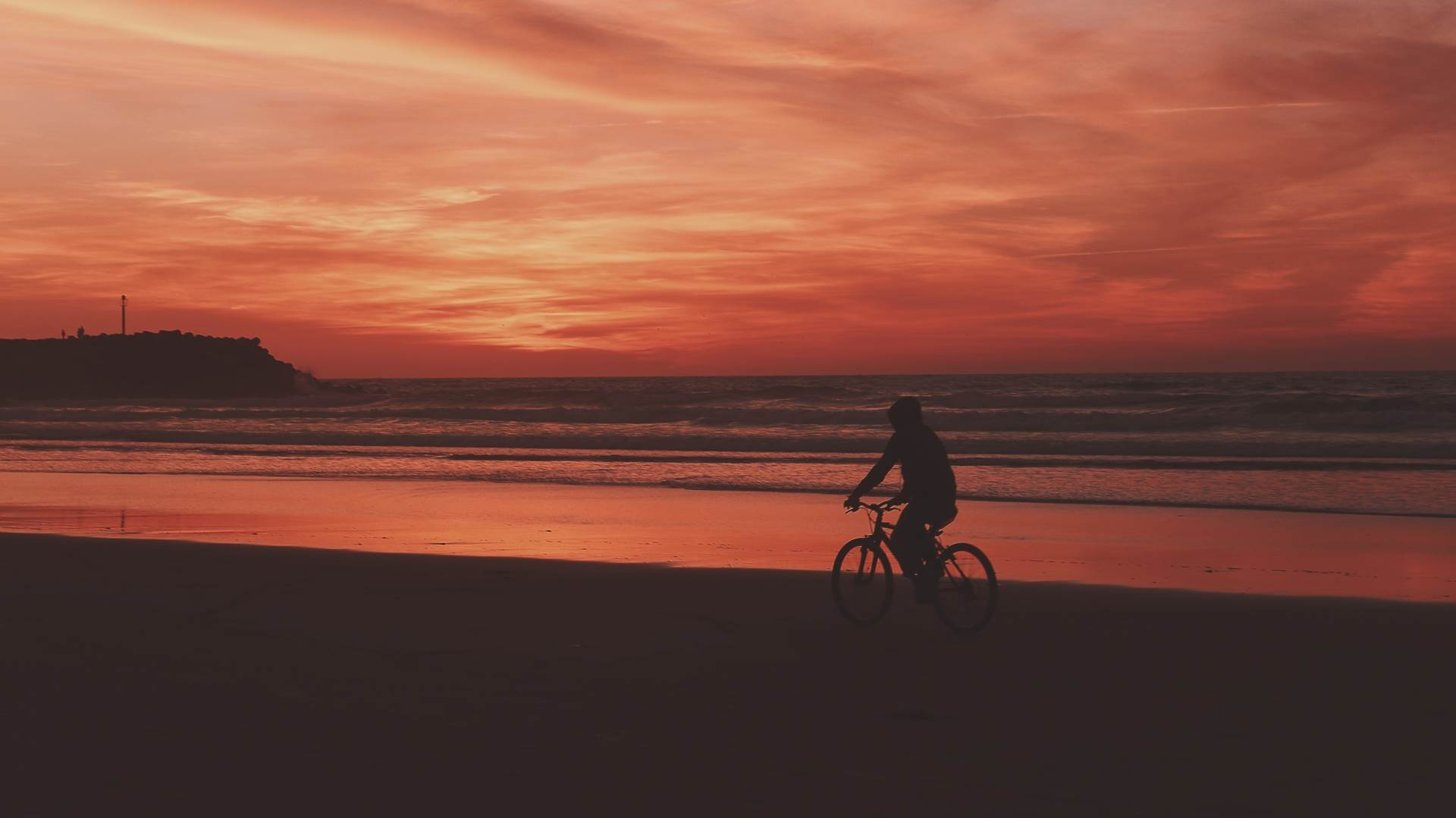 Bicyclist Sea Shore Sunset Wallpaper