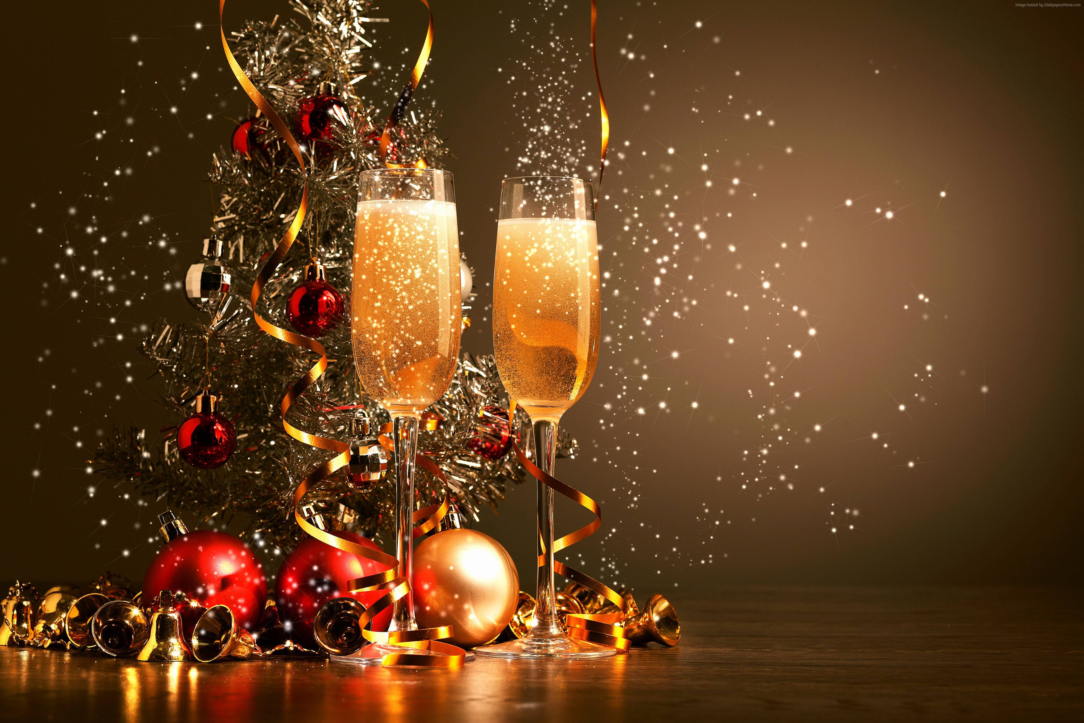christmas new year champagne balls decorations wallpaper