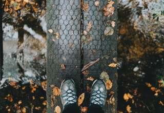 Feet Autumn Foliage Rain Wallpaper