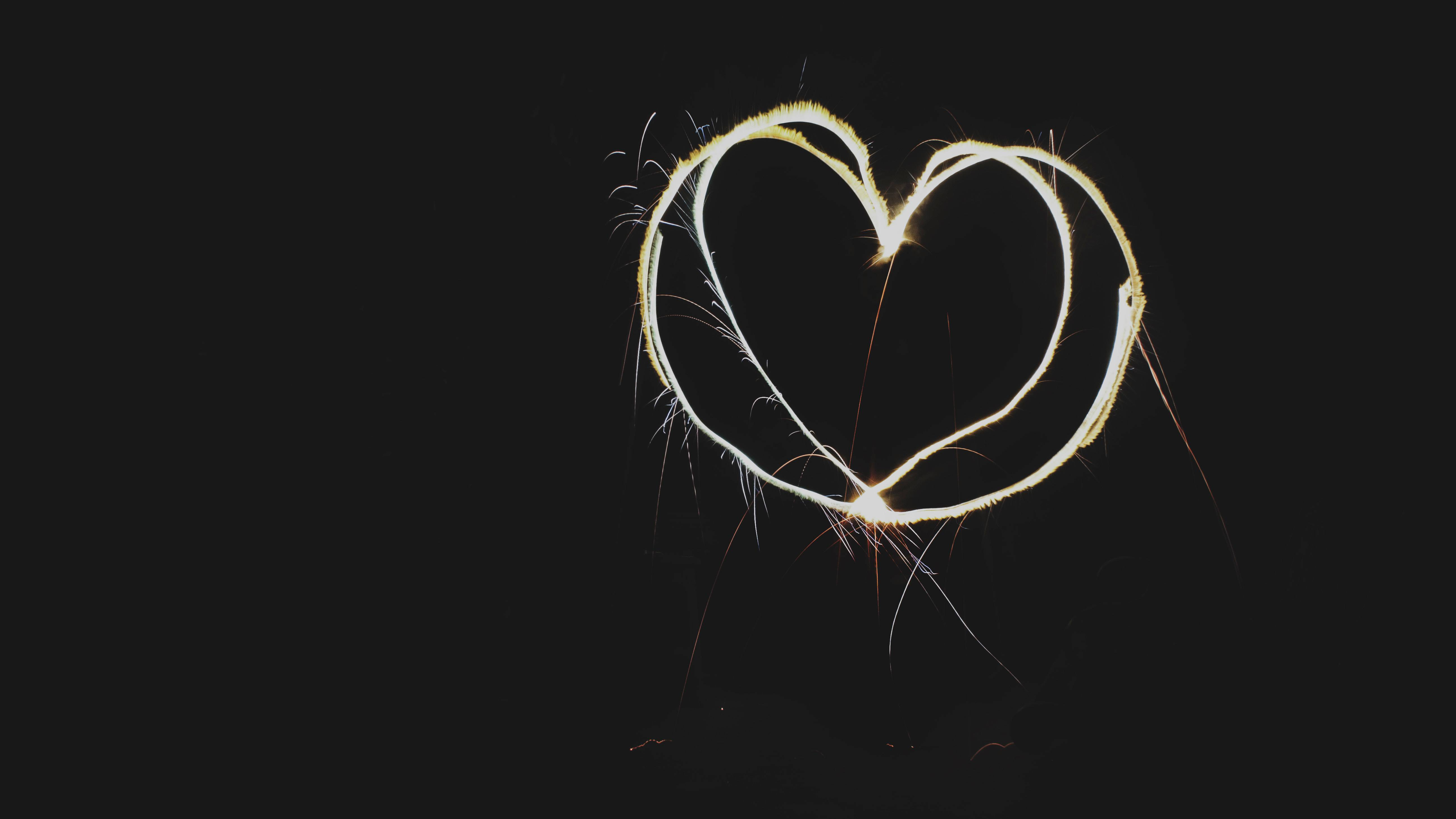 Heart Light Shape Dark Background Wallpaper