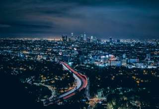 Los Angeles USA Skyscrapers Night Top View Wallpaper