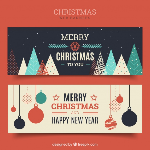دانلود وکتور Merry christmas vintage banners