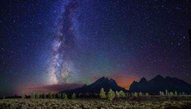 Milky Way Stars Mountains Field Night Wallpaper
