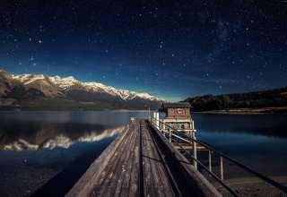 Night Sky Stars Mountains Bridge New Zealand Wallpaper