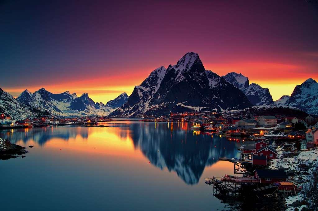 Norway Lofoten Islands Mountains Sea Sunrise 5k Wallpaper