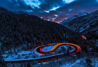 Road Light Sky Forest Mountains Snow Wallpaper