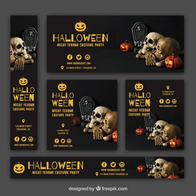 دانلود وکتور Set of halloween party banners