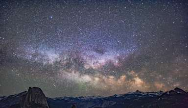 Starry Sky Mountains Galaxy Universe Wallpaper
