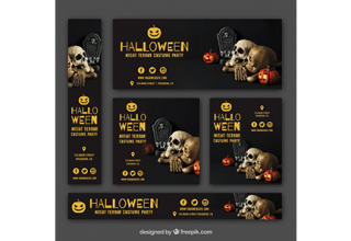دانلود وکتور Set of halloween party banners