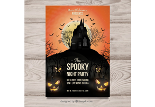 دانلود وکتور Creepy halloween party poster