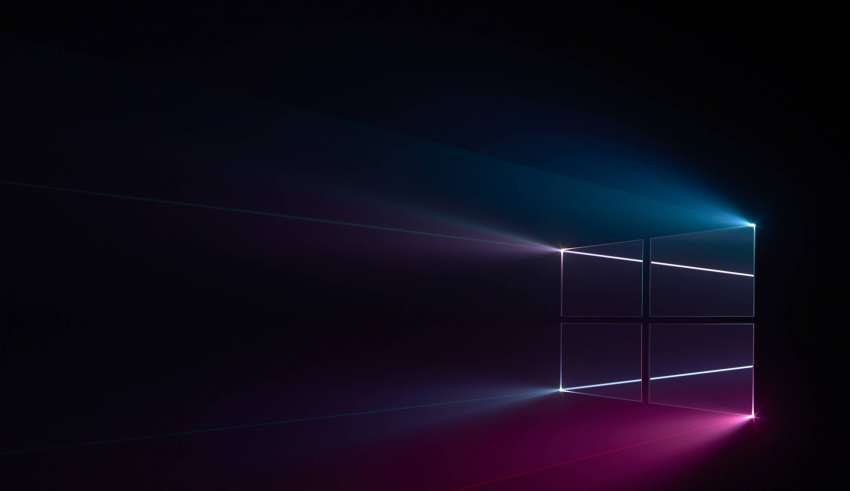 Windows 10 Logo Blue Pink Dark Wallpaper