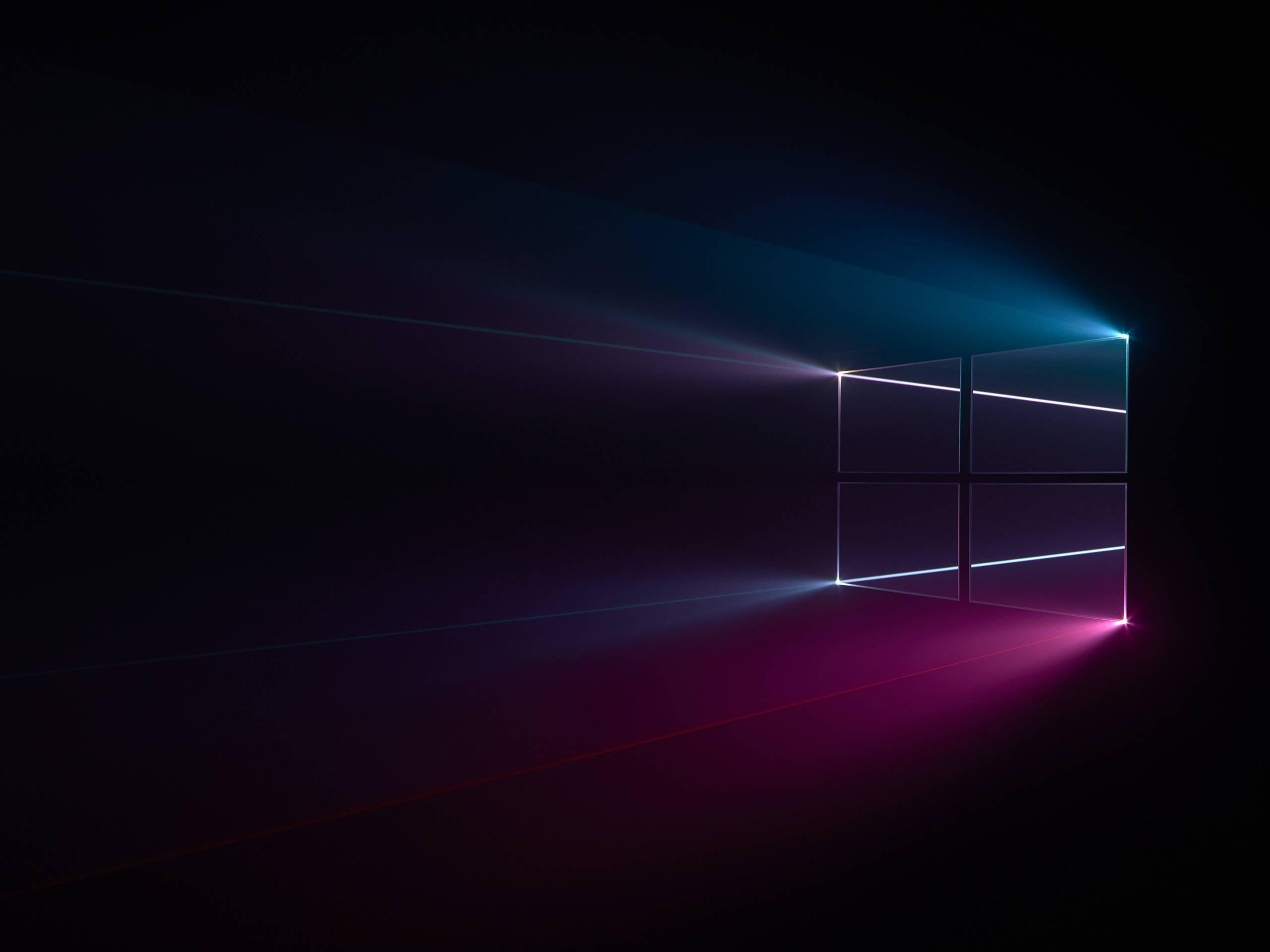 Windows 10 Logo Blue Pink Dark Wallpaper