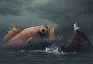 Woman Fish Rain Wallpaper