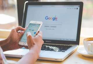 A man typing Google laptop Wallpaper
